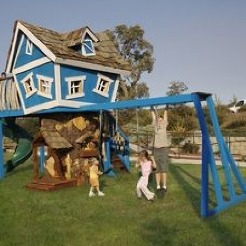 Wendy houses and play areas for children.