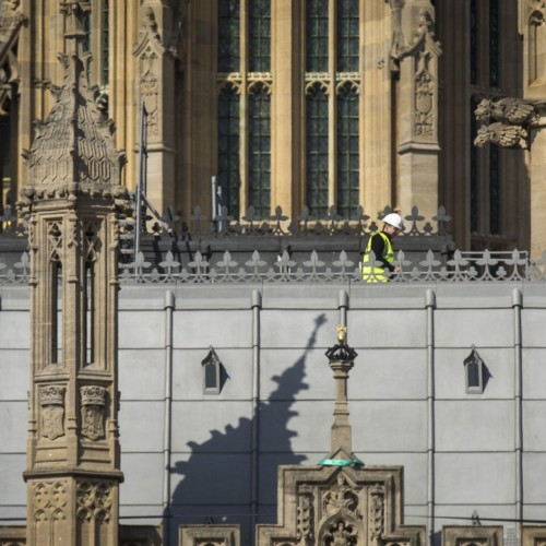 Slab falls off Parliament roof