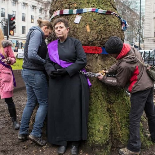 Vicar unchained from tree after protest against HS2 work at Euston