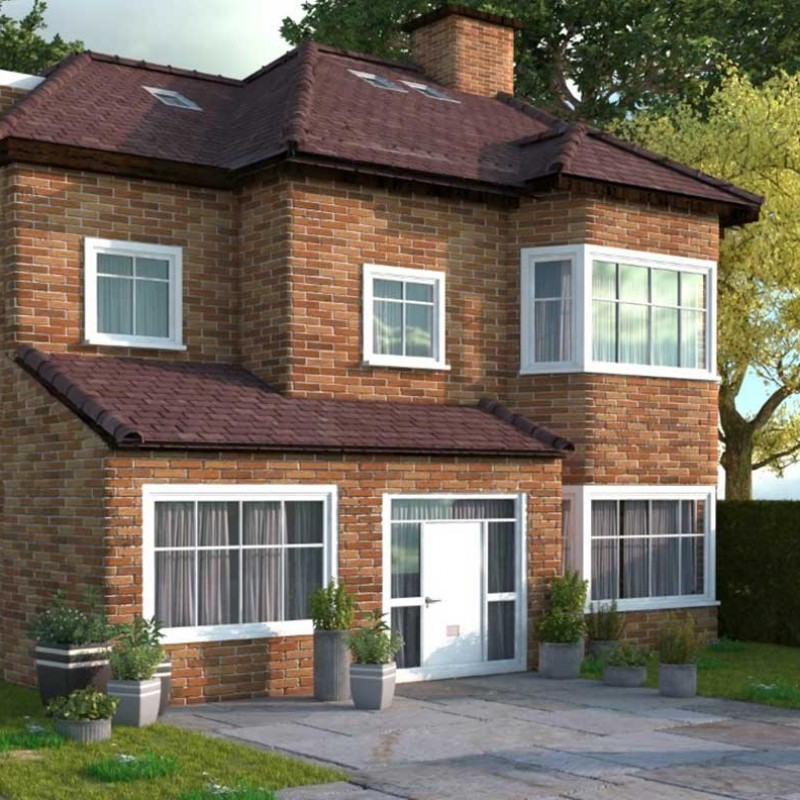 Single storey porch extension, two storey rear and side extension, roof extension