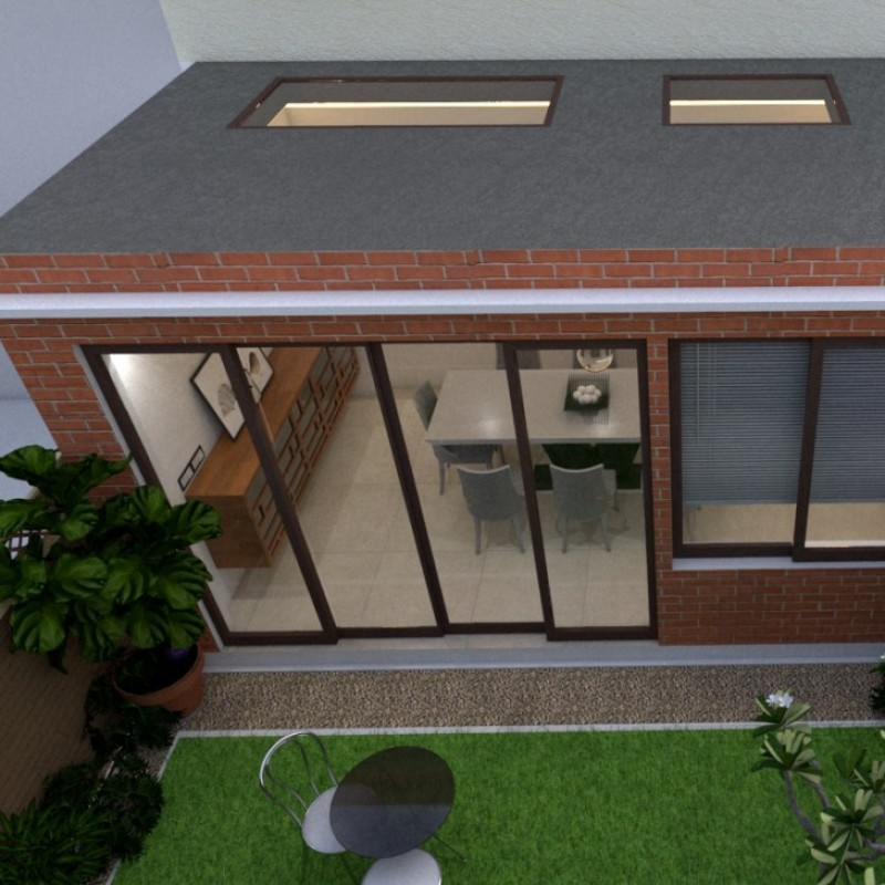 Erection of single storey rear extension, replacement of front door and insertion of new windows in rear dormer